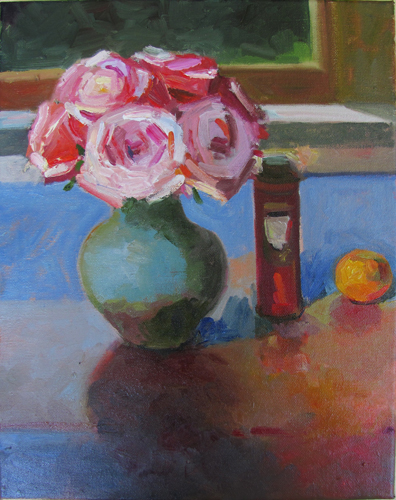 Roses and Powder Can on Blue<br />oil on wood