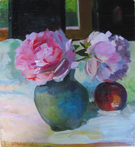 Peonies on White Cloth<br />oil on wood