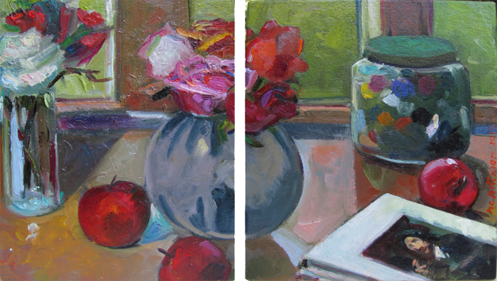Roses, Buttons, Apples and Degas<br />oil on wood, 2 panels