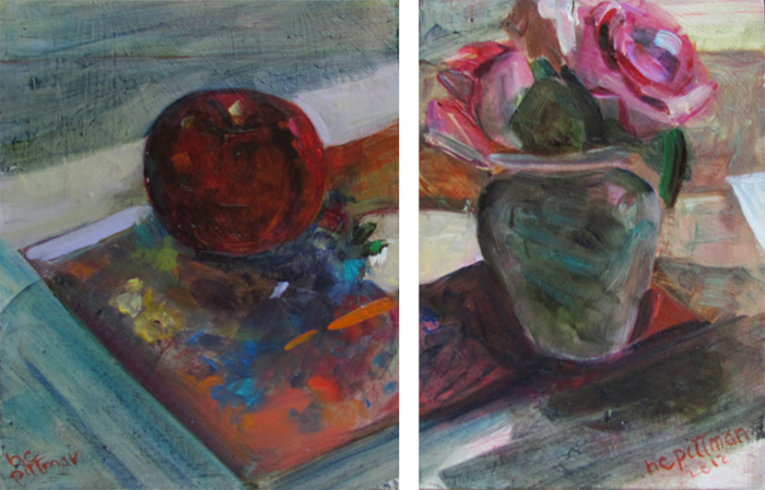 Roses and Apple on Redon's Flowers<br />oil on wood, 2 panels