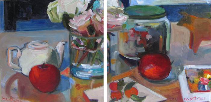Roses and Hoitsu's Persimmons<br />oil on wood, 2 panels
