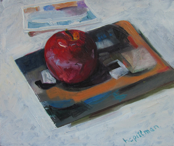 Apple on Braque<br />oil on wood