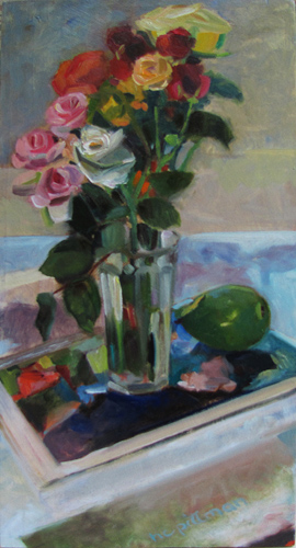 Spray Roses and Pear<br />on Seurat's Grande Jatte<br />oil on wood