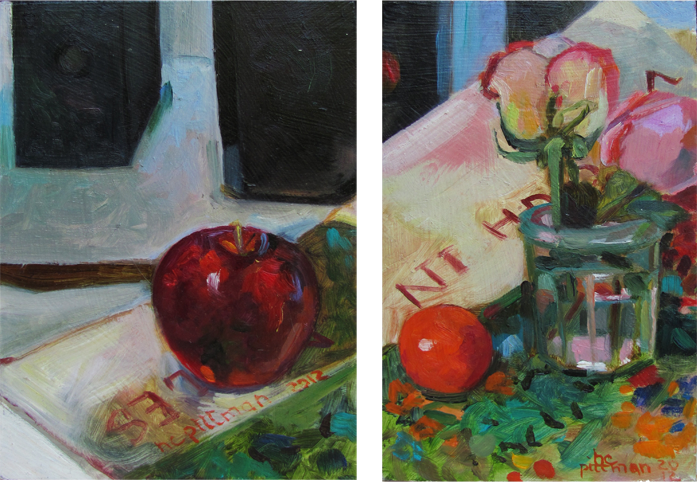 Apples and Roses on Jo's Van Gogh<br />oil on wood, 2 panels