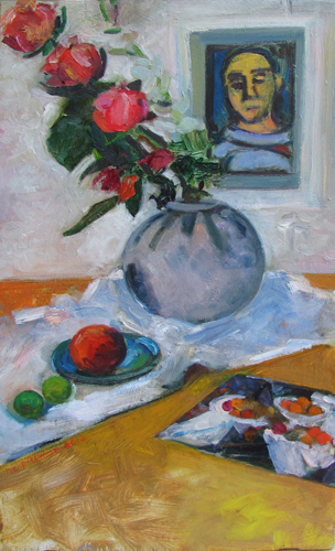 Roses, Cezanne and Rouault<br />oil on wood