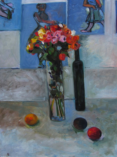Spray Roses and Plums<br />oil on Masonite