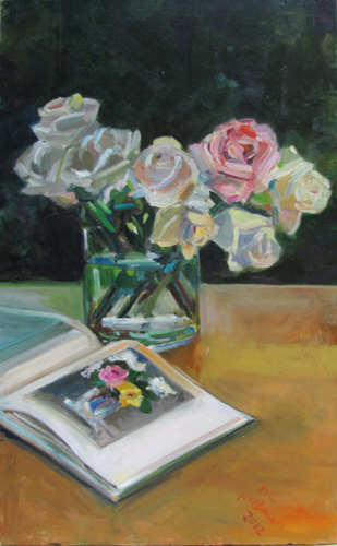 Galen's Rose and Manet<br />oil on wood