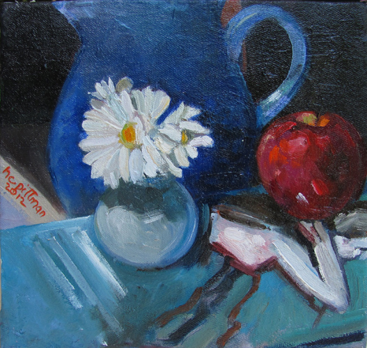 Daisies and Apple on Degas<br />oil on canvas