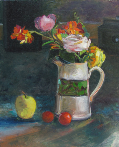 Roses and My Father's Camera<br />oil on canvas