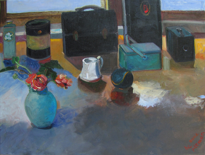 Anemonies, Lunch Boxes and Brownie<br />oil on canvas
