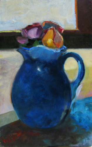 Roses in Blue Pitcher<br />oil on wood