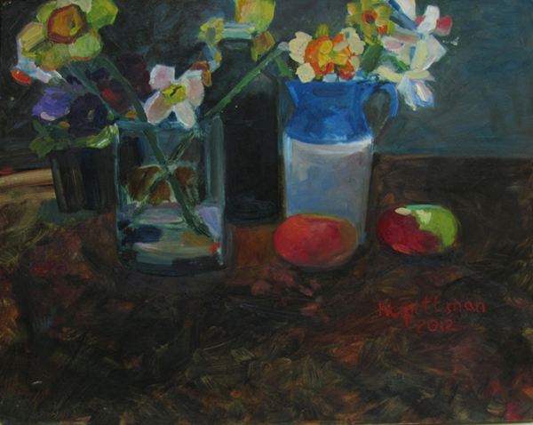 Daffodils and Lady Apples<br />oil on wood