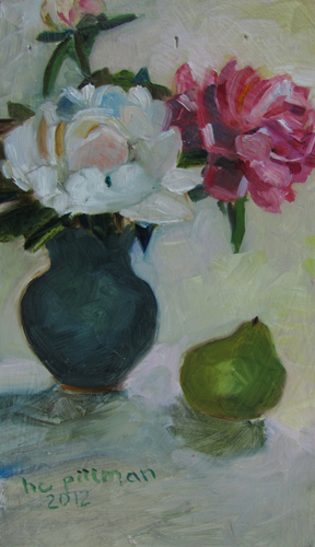 White Peony and Pear<br />oil on wood