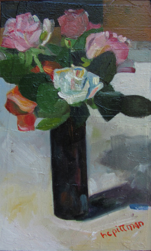 Roses in a Dark Vase<br />oil on collaged canvas