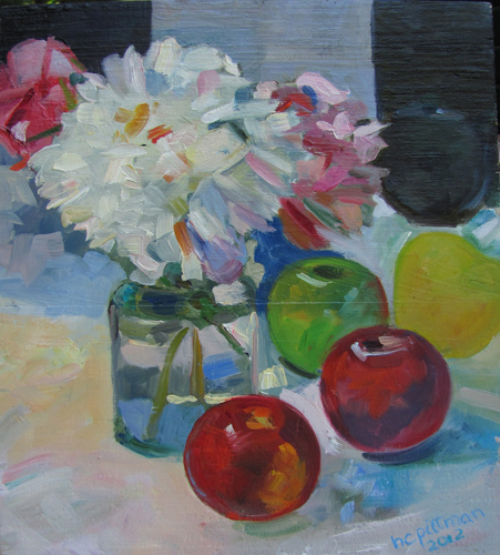 Peonies, Apples and Teapot<br />oil on wood