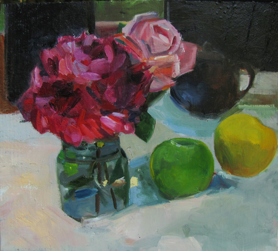 Red Peony and Teapot<br />oil on wood