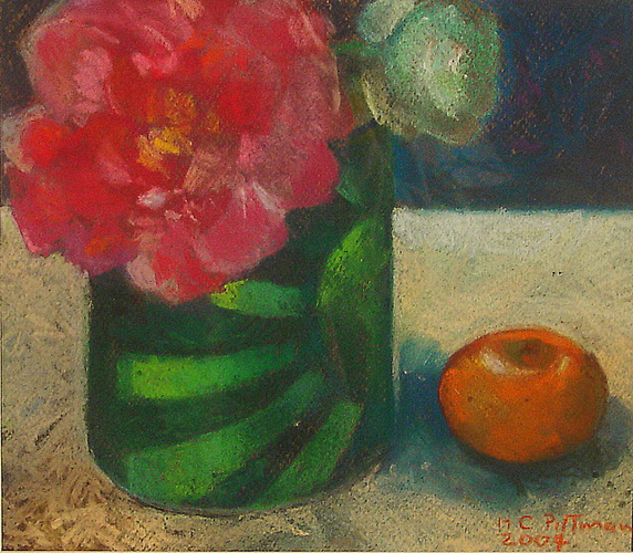 Peonies in a Green Can<br />pastel on paper<br />12 x 11 inches