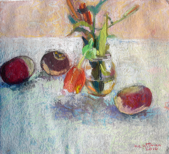 Turnips and Tulip<br />pastel on paper<br />12 x 12 inches